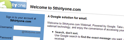 5thirtyone email - google hosted