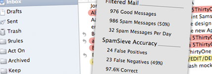spamsieve apple os x mail app screenshot