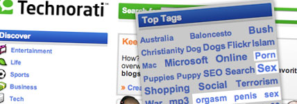 technorati spam tag screenshot