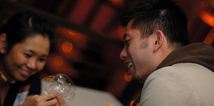 Blowing bubbles at a recent Yelp Elite party