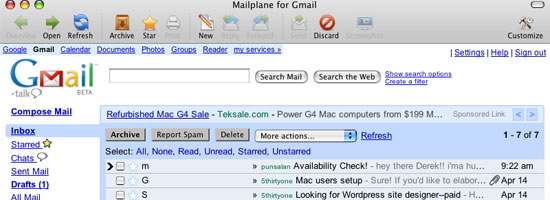 Mailplane main Gmail view screenshot