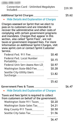 Sprint EVDO wireless bill screenshot