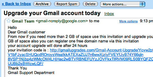 Fake Gmail email screenshot