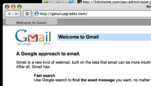 Screenshot of fake Gmail email