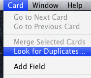 Address Book find Duplicates