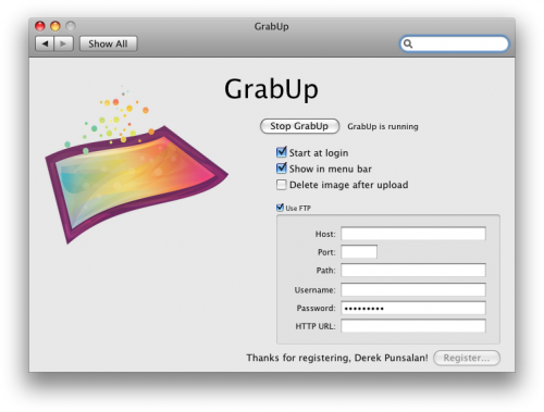 GrabUp Preferences Screenshot